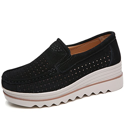 HKR-JJY3088-1heise36 Women Hollow Out Suede Slip On Loafers Spring Summer Comfortable Platform Wedges Shoes For Work Black 6 B(M) US