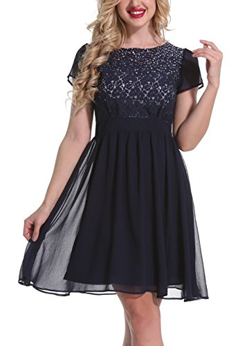 Mesisan Women's Sequined Floral Lace Top Chiffon Skirt Cocktail Evening Party Dress XL (Sequined Chiffon Dress)