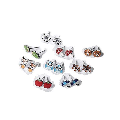 Zen Styles Girl's Stud Earrings Set – Mushrooms, Apples, Foxes, Bears, Berries, Umbrellas, Owls, Leaves - 9 Jewelry Pairs, Hypoallergenic, Gift-Boxed ()