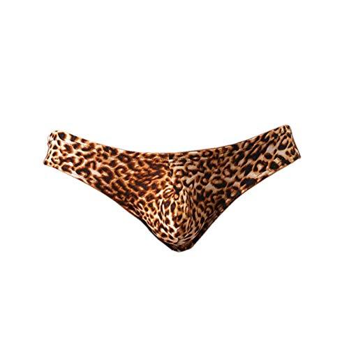 (iooico Men's Underwear, Leopard Print G-Strings Thongs Bikinis Yellow XX-Large(Fit Waist:34-36in))