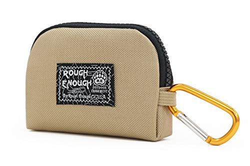 Rough Enough Small Mini Minimalist Mens Wallet Credit Card Holder Coin Purse Change Zipper Pouch Cash Bag Organizer Earbuds Case with Keychain Ring for Business Women Boys Girls Travel School Party ()