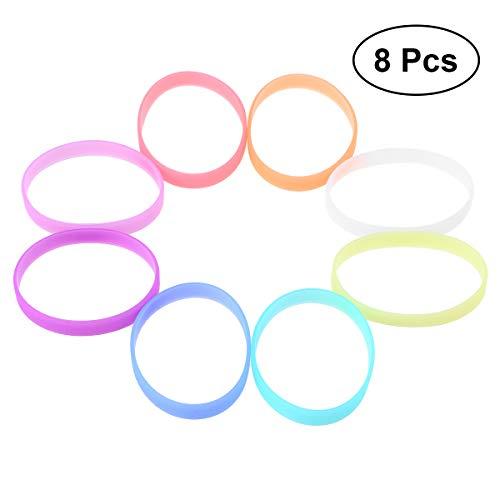TOYMYTOY 8 Pcs Silicone Bracelets Wristbands Luminous Custom Bands Party -
