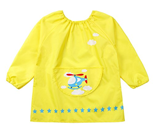 Kids Multifunctional Painting Smock Cute Plane Printing Children's Waterproof Pullover Long Sleeve Bib with Pocket Drawing Apron Yellow 4-6 T by DAWNTUNG (Image #5)