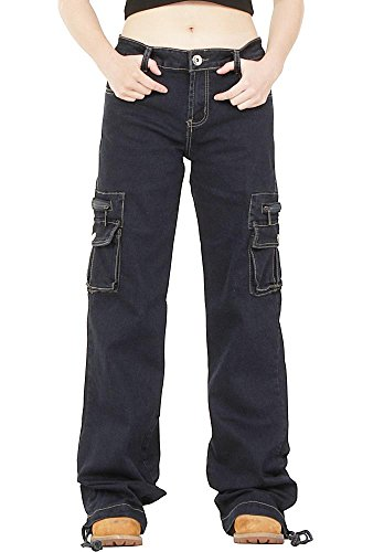 Dark Wash Wide Leg Combat Cargo Jeans - Indigo (US14 / UK16) (Flap Pocket Wide Leg Jeans)