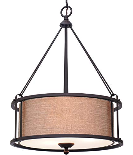 Kira Home Maxwell 17.5 3-Light Metal Drum Chandelier Glass Diffuser, Oil-Rubbed Bronze Finish