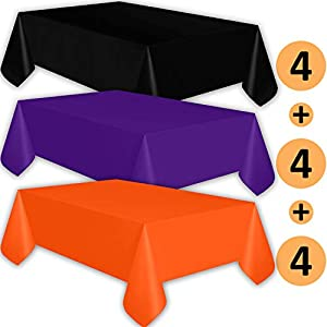 12 Plastic Tablecloths - Black, Purple, Orange - Premium Thickness Disposable Table Cover, 108 x 54 Inch, 4 Each Color