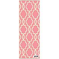 Kapaqua Fancy Moroccan Trellis Non-Slip Runner Rug Rubber Backed (23 x 8) - 2 x 8 Pink