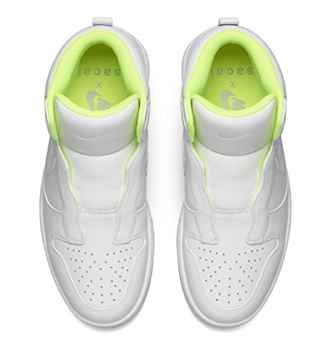 Nike Dames Dunk Lux Sp / Sacai Leer Mode Schoen Wit Wolf Grijs Volt