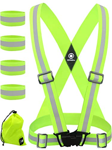 - High Visibility Reflective Vest + 4 Safety Reflector Bands. Reflective Running Gear for Men and Women for Night Running, Cycling, Walking (Green Vest + 4 Bands)