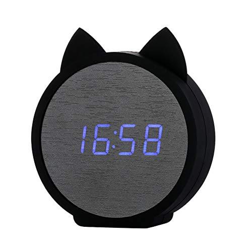 (Vosarea Smart Alarm Clock Cat Shape LED Digital Alarm Clock for Bedrooms)
