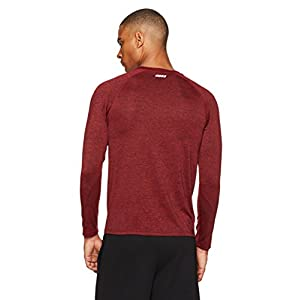 Amazon Essentials Men's Tech Stretch Long-Sleeve T-Shirt, Red Heather, Large
