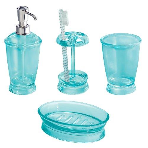 InterDesign Franklin Bath Accessory Set, Soap Dispenser Pump, Toothbrush  Holder, Tumbler, Soap Dish   4 Pieces, Aruba Blue