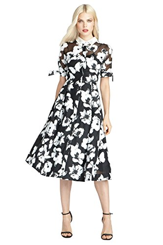 Teri Jon Floral Lightweight Organza Shirt-Dress, Black/White, 14