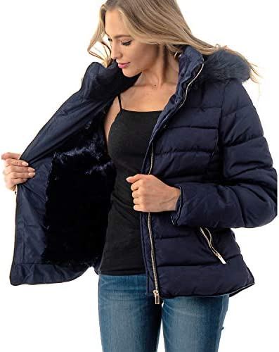 Fashiontasy Women's Short Puffer Coat with Removable Faux Fur Trim Hood Jacket