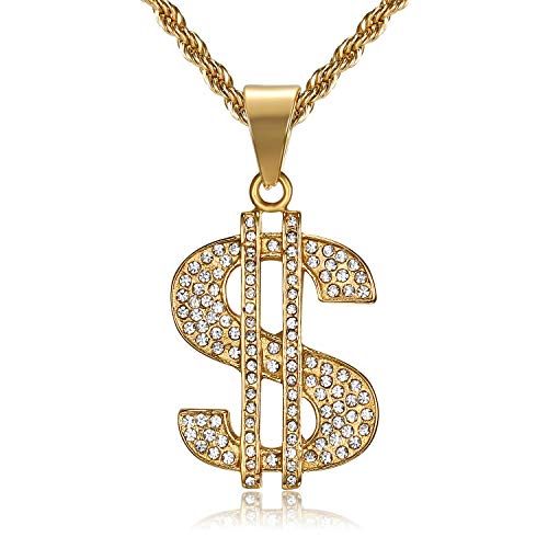 Lee Island Fashion 24K Gold Plated Simulated Diamond CZ Fully Dollar Sign Pendant Stainless Steel Necklace, 24 inch Chain Jewelry