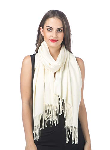 (SAFERIN Super Soft Classic Cashmere Feel Plaid Check Winter Warm Scarf(Solid Ivory) )