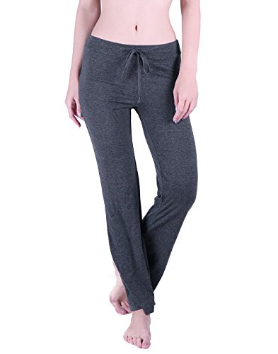 Loose Fit Sleep Pant (HDE Womens Stretchy Loose Yoga Gym Sports Athletic Drawstring Lounge Pants (Charcoal Gray, Large))