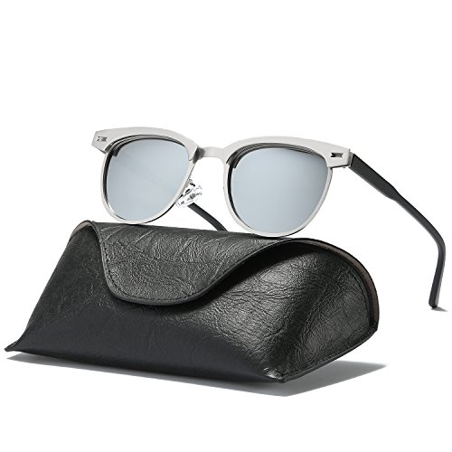 Ray Parker Classic Clubmaster Horn Rimmed Semi Rimless with Polarized Lenses for Men Sunglasses RP6623 with Silver Metal Frame/Silver - Face A Have I Square