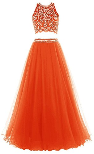 Two Orange Prom Halter Dress Evening Long Women's Beaded Pieces Dress Olidress 7xqHU4H
