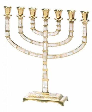 Israel Coins and Medals Corp. CH-1480 7 Branch Menorah44; with Mother of Pearl in Lay