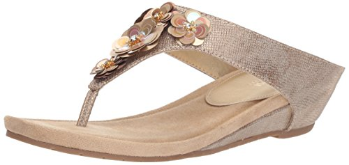 Kenneth Cole REACTION Women's Hop Flower Low Wedge Sandal, Soft Gold, 6.5 M US