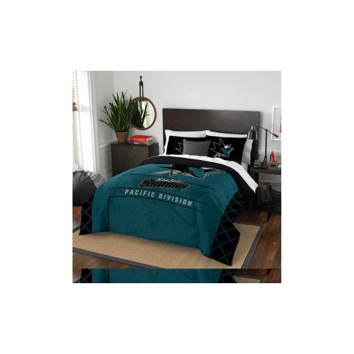 The Northwest Company Officially Licensed NHL San Jose Sharks Draft Full/Queen Comforter and 2 Sham Set