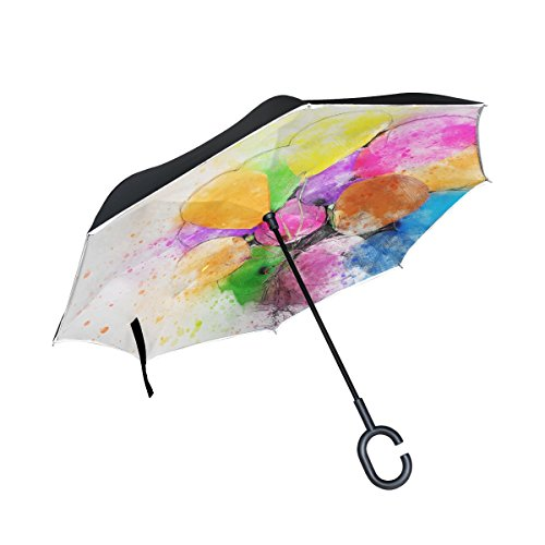 Iiakxnb Double Layer Inverted Balloons Party Art Abstract Watercolor Vintage Umbrellas Reverse Folding Umbrella Windproof Uv Protection Big Straight Umbrella For Car Rain Outdoor With C Shaped Handle
