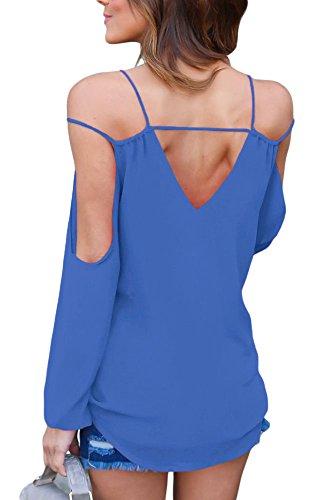 Nuovo blu freddo spalla scollo a V Wrap anteriore Breezy camicetta estate camicia top casual Wear taglia UK 16EU 44