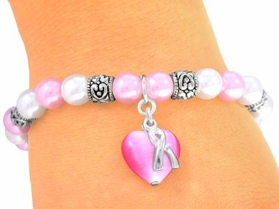 Pearl Breast Cancer Awareness Bracelet - Soft Pink Faux Pearl Breast Cancer Awareness Ribbon Stretch Bracelet With A Pink Cat's Eye Heart