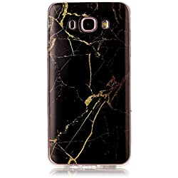 J7 Case, Galaxy J7 Case(2016 Version), KMISS [Marble Pattern] Soft Rubber Silicone Skin Case Cover for Samsung Galaxy J7 (Gold Black)