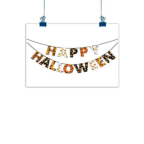Sunset glow Canvas Wall Art Halloween,Happy Halloween Banner Greetings Pumpkins Skull Cross Bones Bats Pennant,Orange Black White for Living Room Bedroom 48