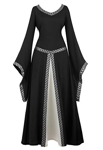 frawirshau Renaissance Costume Women Medieval Dress Queen Gown Renaissance Faire Costumes Women Black XL