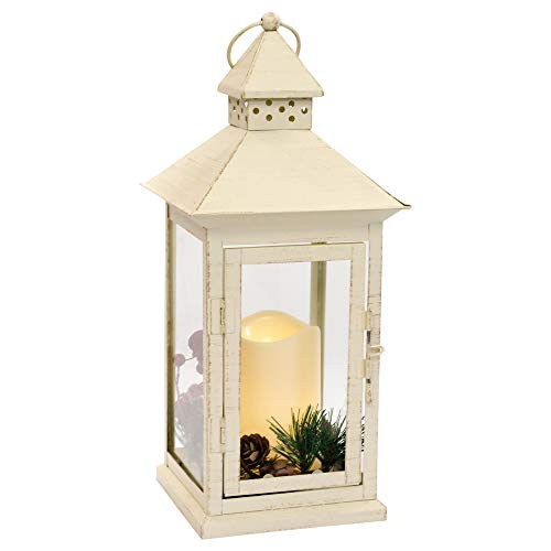 Mark Feldstein Holly Berry and Pine Look White Distressed 13.5 Inch Metal Decorative Hanging Lantern ()