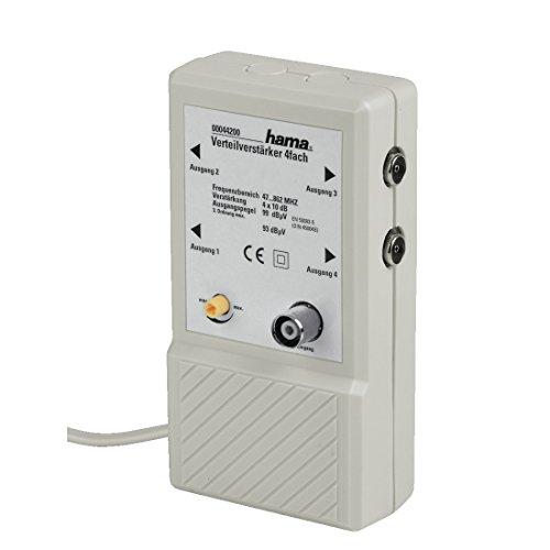 Hama 4 fach Verteilverstärker für BK Anlagen und terrestrische Netze, 4x10 dB (Dämpfungsregler, eingebautes Netzteil, HDTV, DVB-T/DVB-T2, Koax-Anschlüsse) weiß