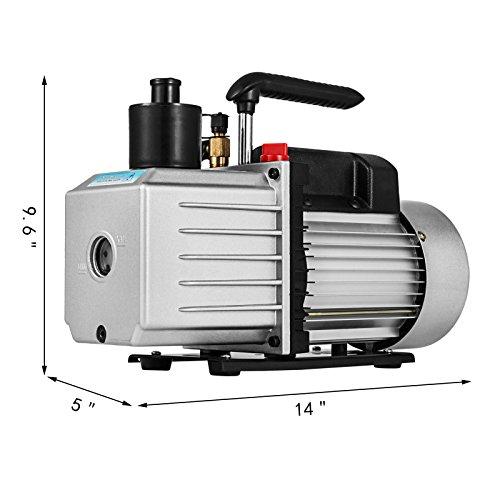 VEVOR Vacuum Pump 8CFM 1HP Two Stage HVAC Rotary Vane Vacuum Pump Wine Degassing Milking Medical Food Processing Air Conditioning Auto AC Refrigerant Vacuum Pump (2-Stage, 8CFM) by VEVOR (Image #2)