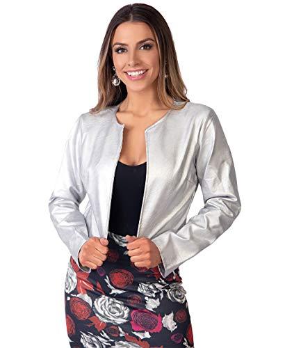 - Krisp Women PU Leather Cropped Jacket Long Sleeve Bolero[4432-SIL-L] Silver