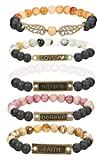 Finrezio 5 PCS Bead Bracelets for Women Aromatherapy Essential Oil Diffuser Natural Lave Rock Stone Bracelet Set 8MM (Style A: 5 PCS of Elastic)