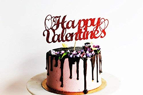Incredible Happy Valentines Valentines Red Glitter Card Cake Topper Love Birthday Cards Printable Riciscafe Filternl
