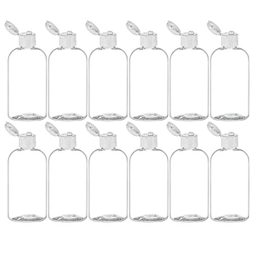 MoYo Natural Labs 8 oz Boston Round Travel Bottles, Empty Travel Containers with Flip Caps, BPA Free PET Plastic Refillable Toiletry/Cosmetic Bottle (Pack of 12, Clear)