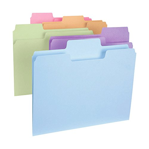 Colored File Folder - Smead SuperTab File Folder, Oversized 1/3-Cut Tab, Letter Size, Assorted Colors,100 per Box (11961)