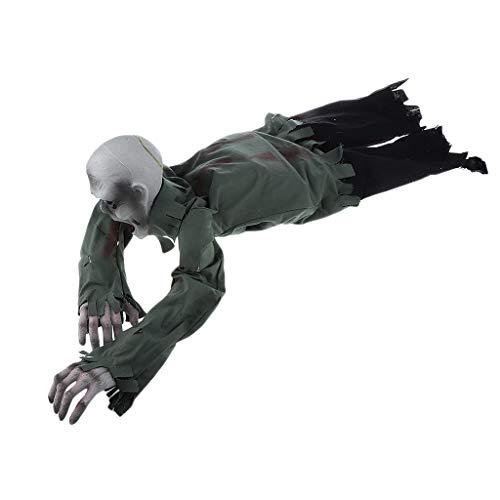 (Fenteer Creepy Bloody Halloween Crawling Ghost Skeleton Haunted House Light Up Talking Prop Doll)