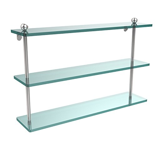 Allied Shelf Brass Triple Glass - Allied Brass PR-5/22-PC 22 Inch Triple Tiered Glass Shelf, Polished Chrome
