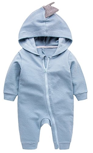 Newborn Baby Boys Girls Cartoon Dinosaur Hoodie Romper Onesies Jumpsuit Outfits Size 3-6Months/66 (Blue) ()
