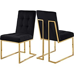 Meridian-Furniture-Pierre-Collection-714Black-C-Modern-Contemporary-Black-Velvet-Dining-Chair-with-Luxurious-Deep-Tufting-and-Polished-Gold-Metal-Frame-Set-of-2-185-W-x-25-D-x-365-H