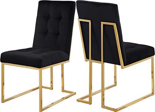 - Meridian Furniture 714Black-C Pierre Velvet Dining Chair, Set of 2,  Black