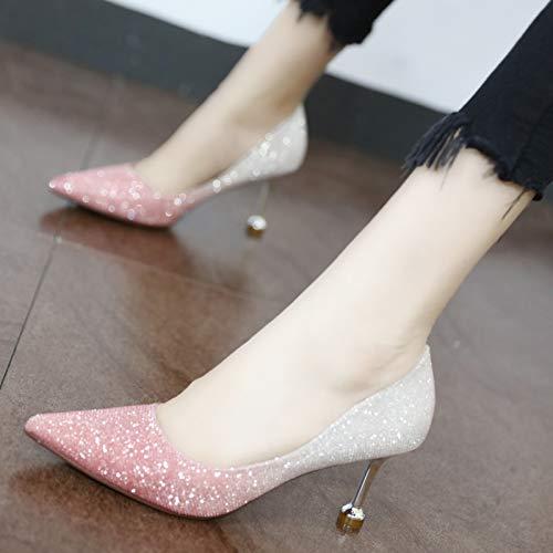 de Boca UE EU gradiente Altos Tacones Moda Baja Zapatos Zapatos Banquete 38 Fina Sexy YMFIE Lentejuelas Color con la Puntiagudos 34 1tn64qUR