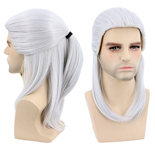 Price comparison product image Topcosplay Halloween Costumes Cosplay Wig Grey Medium Sliver Wig for Man