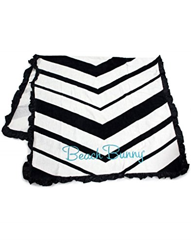 Beach Bunny Swimwear Chevron Black White Print Towel Ruffle Satin Trim
