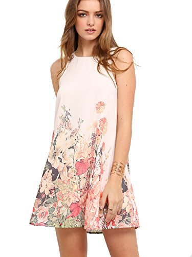 Floerns Women's Loose Floral Tank Dress Summer Sleeveless Dresses Beige M