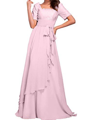 Brautmutterkleider Rosa Partykleider Damen Rosa Charmant Bodenlang Spitze Ballkleider Abendkleider Langarm Chiffon 1SPwRq